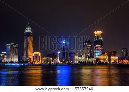 Night View Of Bund Skyline (waitan) From Pudong Side, Shanghai