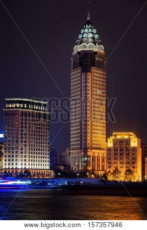 Night View Of Skyscraper And Old Buildings On The Bund (waitan)