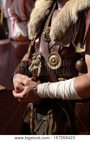 Leather armor of an Ancient Roman warrior close up