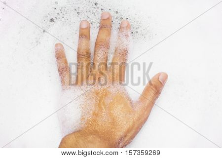 bubble, foam, hand, hand holding, soap bubble, water, white