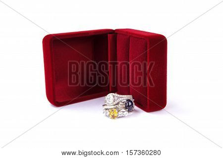 Rings Jewelry is popular with the girls. A symbol of love And the belief that the prosperity of the wearer. The rings on white background