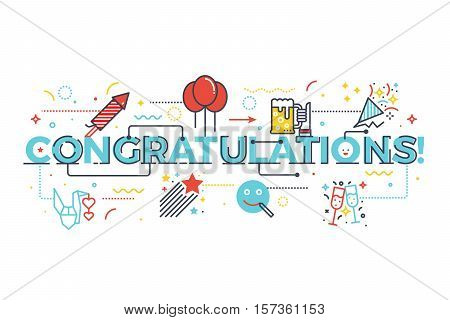 Congratulations Word For Celebration Concept
