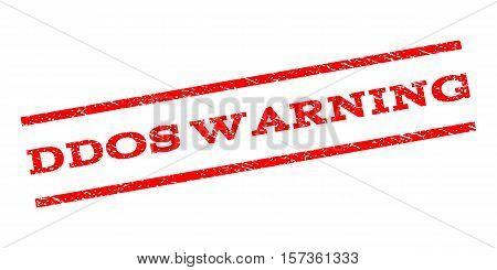 Ddos Warning watermark stamp. Text caption between parallel lines with grunge design style. Rubber seal stamp with dust texture. Vector red color ink imprint on a white background.