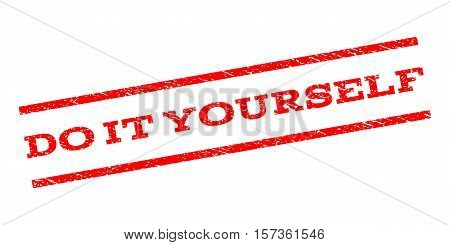 Do It Yourself watermark stamp. Text caption between parallel lines with grunge design style. Rubber seal stamp with unclean texture. Vector red color ink imprint on a white background.