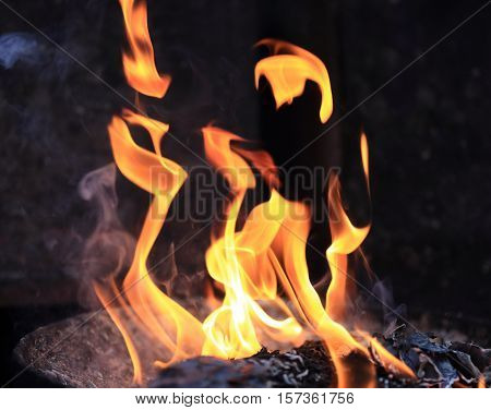 closeup of burning fire flames against balck