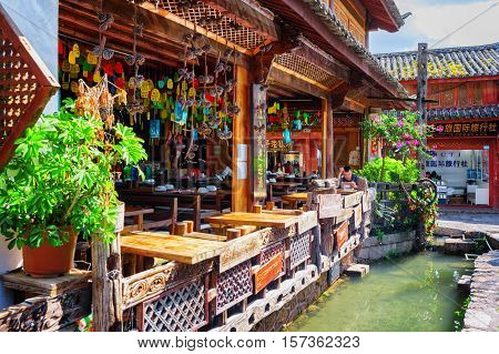 Scenic Wooden Facade Of Restaurant In The Old Town Of Lijiang
