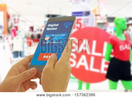 Digital wallet to pay for goods and services in a department store for easy and fast.
