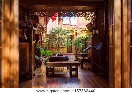 Amazing Cozy Courtyard Of Traditional Chinese Wooden House