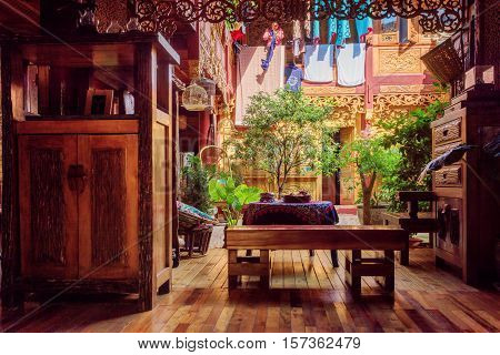 Beautiful Cozy Courtyard Of Traditional Chinese Wooden House