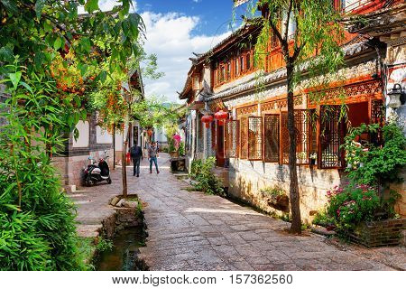 Scenic View Of Street In The Old Town Of Lijiang On A Sunny Day