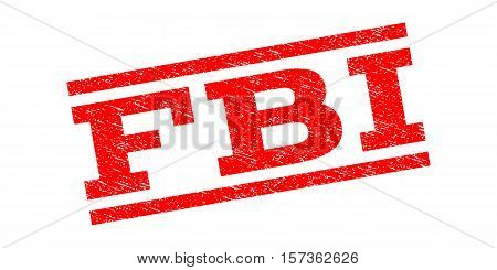 FBI watermark stamp. Text tag between parallel lines with grunge design style. Rubber seal stamp with unclean texture. Vector red color ink imprint on a white background.