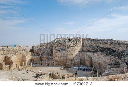 HERODIUM FORTRESS, ISRAEL - NOVEMBER 27, 2009: Ruins of Herodium or Herodion, the fortress of Herod, the Great, Israel