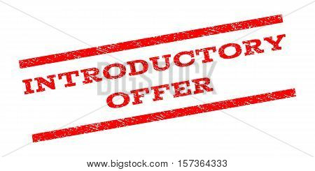 Introductory Offer watermark stamp. Text tag between parallel lines with grunge design style. Rubber seal stamp with dirty texture. Vector red color ink imprint on a white background. poster