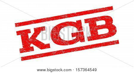 KGB watermark stamp. Text tag between parallel lines with grunge design style. Rubber seal stamp with dirty texture. Vector red color ink imprint on a white background.