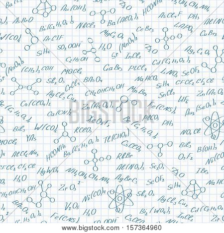Seamless pattern on the theme of the subject of chemistry hand-written formulas of substances and images of molecules on a white background
