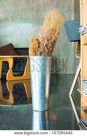 Potted flowers in a coffee cafe for decoration.