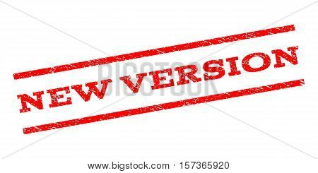 New Version watermark stamp. Text caption between parallel lines with grunge design style. Rubber seal stamp with dirty texture. Vector red color ink imprint on a white background.