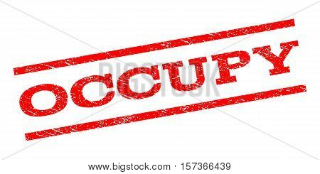 Occupy watermark stamp. Text tag between parallel lines with grunge design style. Rubber seal stamp with scratched texture. Vector red color ink imprint on a white background.