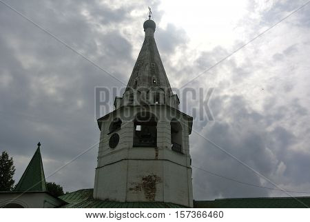 Suzdal, Russia. The cathedral belltower (1635) is to the South from Nativity Cathedral. Suzdal Kremlin. Golden Ring of Russia. Orthodox architecture