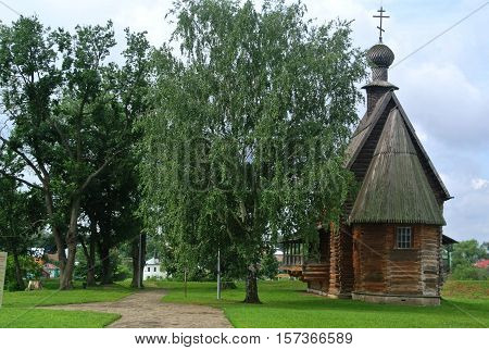 Suzdal, Russia - August 5, 2016: Ancient wooden Church in Suzdal. Museum of wooden architecture and peasants' life. Golden ring of Russia. Orthodox architecture