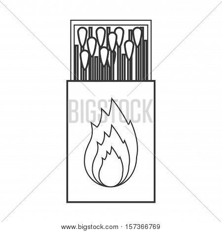 contour silhouette of matchbox with logo flame vector illustration