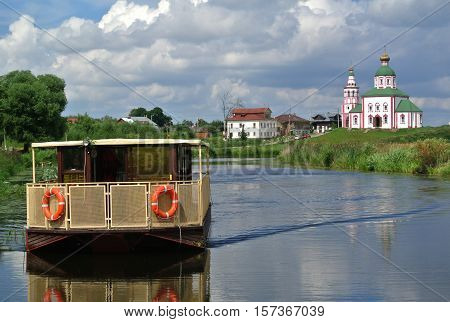 Suzdal, Russia. Church of Elijah Prophet Ivanova grief in Suzdal, in bend of Kamenka river, opposite Suzdal Kremlin. Gold ring of Russia. Orthodox architecture