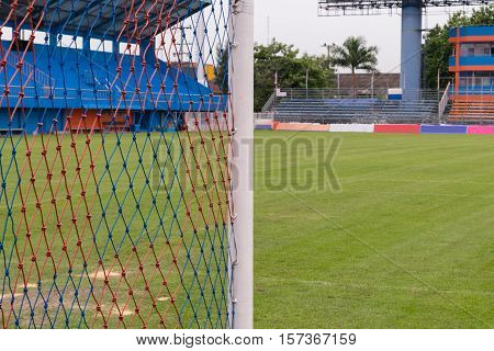 Football Stadium And Net Of Goal