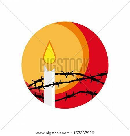 Vector abstract shape barbed wire and candle