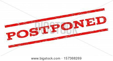 Postponed watermark stamp. Text tag between parallel lines with grunge design style. Rubber seal stamp with scratched texture. Vector red color ink imprint on a white background.