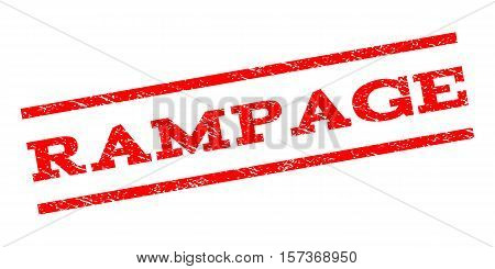 Rampage watermark stamp. Text tag between parallel lines with grunge design style. Rubber seal stamp with scratched texture. Vector red color ink imprint on a white background.