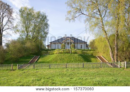 PUSHKINSKIYE GORY, RUSSIA - MAY 08, 2016: At the home of the poet Alexander Pushkin on the estate Mikhailovskoye may morning. The historical landmark