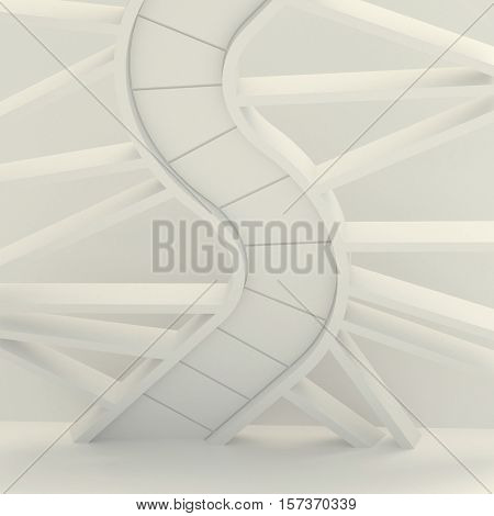 3d illustration. Three-dimensional composition based on the image of the spiral staircase the DNA molecule the snake. Abstract white architectural background render.