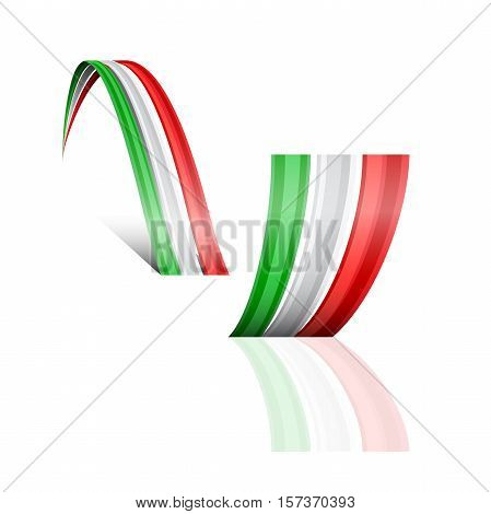 Abstract vector wave italian and mexican flag