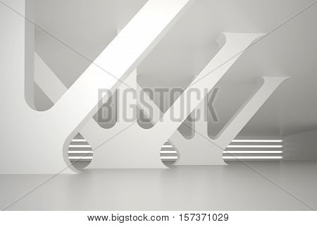 3d illustration. Interior of nonexistent white room with vertical and diagonal and supporting elements passing through the ceiling. Concept of car parking airport terminal industrial building. Render.