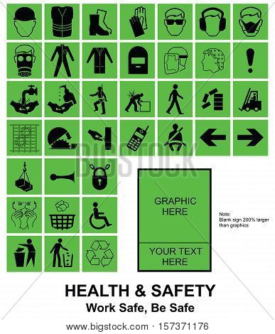 Green make your own construction manufacturing and engineering health and safety related signs isolated on white background with sample template