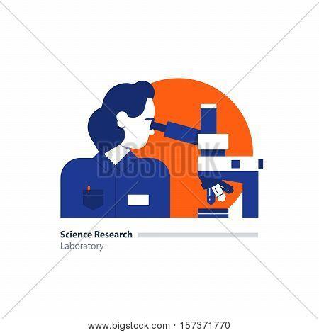 Laboratory science research. Female sientist, microscope. Flat design vector illustration. Scientific study, education concept