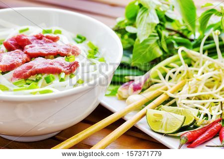 The Pho Bo Is A Beef Noodle Soup. Popular Street Food In Vietnam