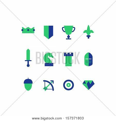 Business strategy, tactics. Flat design vector set of game icons