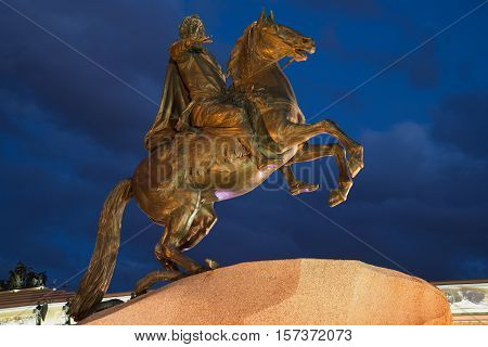 Monument to Peter I (Bronze Horseman) close up of the July night (1782). Saint Petersburg