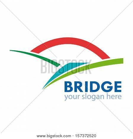 Vector abstract shape of bridge connection concept
