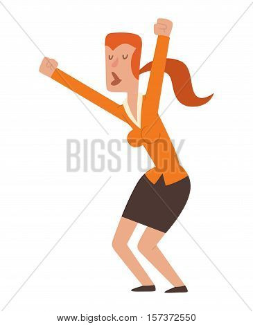 Woman dancing jumping in celebration party vector illustration. Happy girl jump celebration joy character. Cheerful character active happiness expression vector. Joyful expression emotions portrait.
