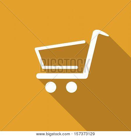 Shopping cart. Vector in yellow flat design