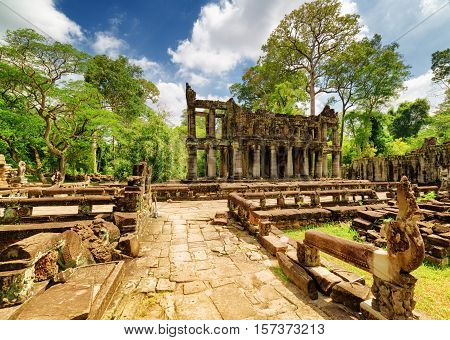 Mysterious Ruins Of Ancient Preah Khan Temple, Angkor, Cambodia