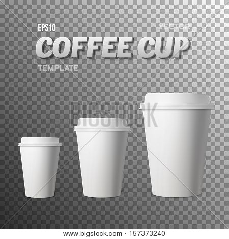 Illustration of Vector Coffee Cup. Photorealistic Vector EPS10 Paper Coffee Cup Mockup Set. Take Out White Coffee Template