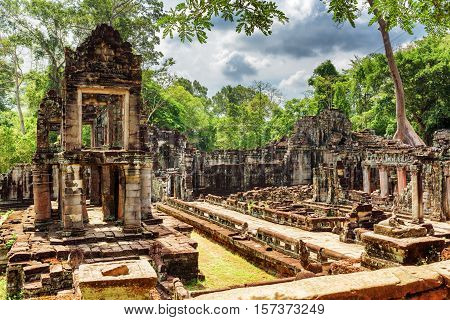 Enigmatic Ruins Of Ancient Preah Khan Temple In Angkor, Cambodia
