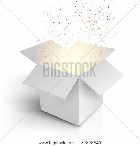 Illustration of Realistic Magic Open Box. Magic Gift Box with Magic Light Comming from Inside. Paper Box Isolated on White Background