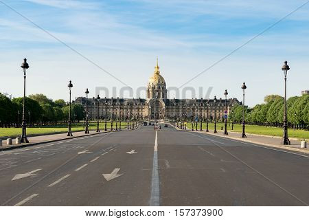 Les Invalides (National Residence of the Invalids) - complex of museums and monuments in Paris France.