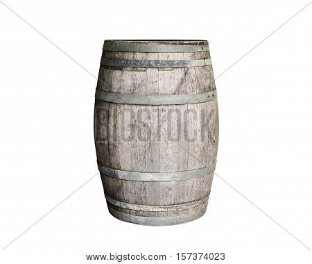 Vintage old wooden barrel isolated on white background