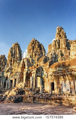 Mysterious Ruins Of Ancient Bayon Temple, Angkor Thom, Cambodia