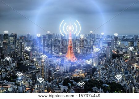 Wifi icon and Tokyo city with network connection concept Tokyo smart city and wireless communication network abstract image visual internet of things.